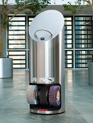 Ellipse Shoe Shine Machine, shown in stainless steel